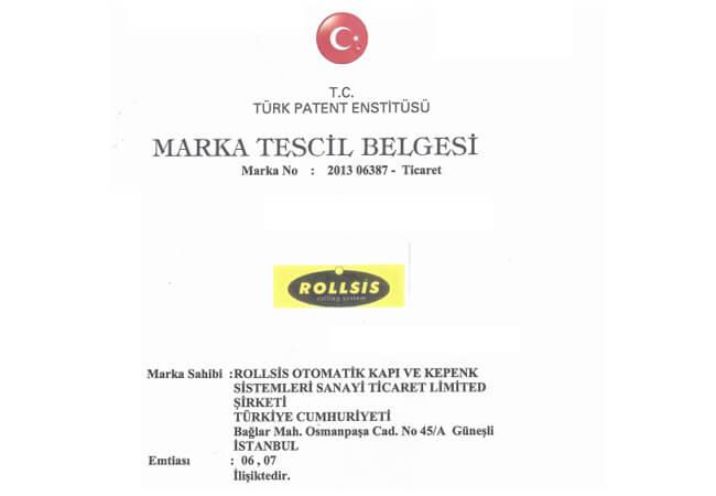 ROLLSIS TRADEMARK REGISTRATION CERTIFICATE